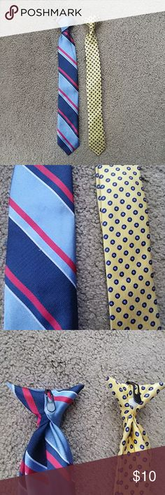 Two boys clip-on neckties Two boys clip-on ties, each 15 inches long.  First is blue with red and white, and second is yellow with blue dots.  In like-new condition, no wear or stains. Accessories Ties