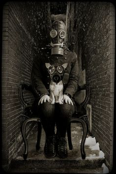 .....kathy grieb kennedy does winter...[in a gas mask]....strange girl, kathy....