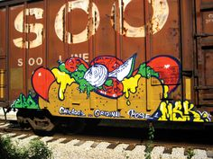 Graffiti Writers Need to Eat Too. Graffiti Art, Graffiti Alphabet, Urbane Kunst, Pose, Train Art, Chicago Artists, Rail Car, Outdoor Art, Land Art