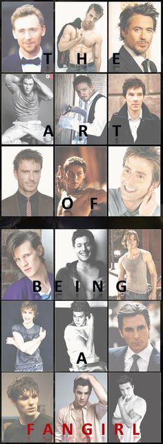 From the top: Loki, Steve, Tony, Thor, Clinton, Sherlock, Magneto, Professor X, Tenth Doctor, Eleventh Doctor, Dean, Sam, Malfoy, Spidey, Batman, Merlin, AVPM Harry, Peeta. Yes, yes, I have mastered the art of fangirling over every single one. :D