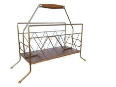 Mid Century Magazine Rack Brass Tone Wood -Vintage from the 1960s