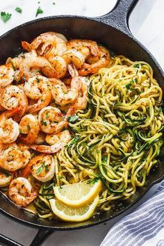 Lemon Garlic Butter Shrimp with Zucchini Noodles - This fantastic meal. Lemon Garlic Butter Shrimp with Zucchini Noodles - This fantastic meal cooks in one skillet in just 10 minutes. Low carb, paleo, keto, and gluten free. Fish Recipes, Paleo Recipes, Lunch Recipes, Low Carb Shrimp Recipes, Shrimp Dinner Recipes, Cabbage Recipes, Paleo Meals, Carb Free Meals, Whole30 Shrimp Recipes