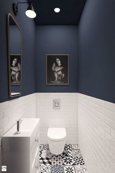 decoration-ideas Guest toilet, patterned floor tiles, black and white, half-height metro tiles - # . Bathroom Interior, Bathrooms Remodel, Wall Colors, Bathroom Decor, Blue Walls, Trendy Bathroom, Bathroom Design, Patterned Floor Tiles, Blue Wall Colors