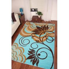 Montego Aqua Turquoise Blue Brown Modern Big Flower Print Rug   8 Sizes:  Amazon.