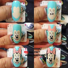 Photo Cartoon Nail Designs, Nail Art Designs, New Nail Art, Cute Nail Art, Nail Art Modele, Comic Nail Art, Disney Inspired Nails, Mickey Mouse Nails, Nail Drawing