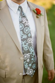 Gray and Turquoise bicycle tie