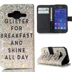 "Samsung Galaxy Core Prime Case -Wallet styles  -Reads: ""Eat Glitter for Breakfast and Shine All Day Accessories Phone Cases"