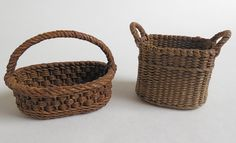 1:12th scale miniature woven 'wicker' baskets by Carolyn Lockwood ... from Monica Roberts