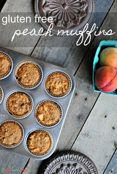 Easy Gluten Free Peach Muffins contain no refined sugar, are gluten free, can be made dairy free and super tasty! They're a tasty summer treat that are a perfect fit for the lunchbox, too. Peach Muffin Recipes, Healthy Muffin Recipes, Gluten Free Recipes For Breakfast, Gluten Free Muffins, Gluten Free Breakfasts, Healthy Muffins, Gluten Free Baking, Healthy Dessert Recipes, Gluten Free Desserts
