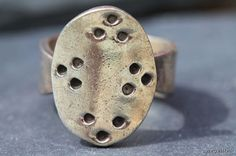 Vintage Hand Made Mexican Taxco 925 Sterling Silver Polka Dot Ring