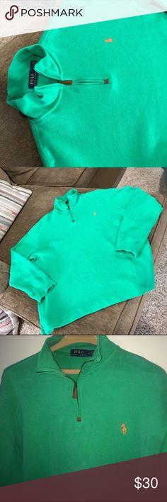 Polo Ralph Lauren 1/4 zip sweater Beautiful Aqua green Ralph Lauren sweater with orange stitched logo. Size large Polo by Ralph Lauren Sweaters