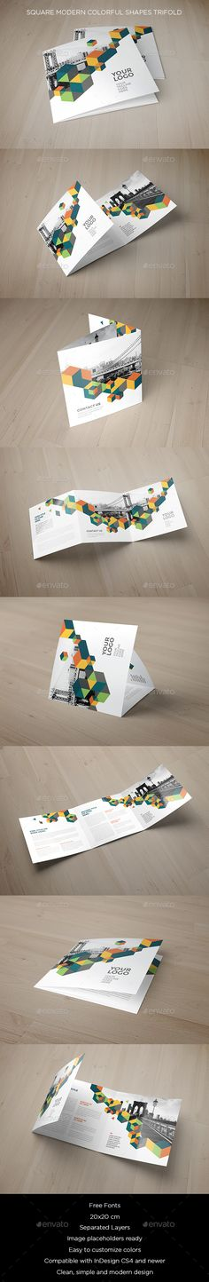 Square Modern Colorful Shapes Trifold Brochure Template InDesign INDD. Download here: http://graphicriver.net/item/square-modern-colorful-shapes-trifold/16546924?ref=ksioks