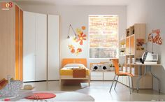 Dielle White Based Kids Rooms with Colorful Furniture : White Based Wall Art Kids Room with Orange White Builtin Closet and SpaceSaving Bed