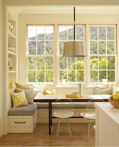 contemporary kitchen Bay window kitchen nook Bookshelf to left of window seat.back rest for sitting from that corner? Dining Nook, House, Kitchen Remodel, Contemporary Kitchen, House Interior, Sweet Home, Home Kitchens, Kitchen Bay Window, Modern Farmhouse Kitchens