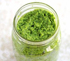 Garlic Scape, Cilantro, Swiss Chard Pesto Recipe {CSA Box Recipe} - Jeanette's Healthy Living could do with pasta and garbonzo beans Basil Pesto Recipes, Veggie Recipes, Fall Recipes, Healthy Recipes, Garlic Recipes, Veggie Dishes, Sauce Recipes, Healthy Foods, Bechamel