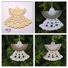This Christmas Angel Ornaments Free Crochet Pattern is so beautiful. It uses few angel crochet patterns to create crochet ornaments. Christmas Crochet Patterns, Crochet Ornaments, Holiday Crochet, Crochet Snowflakes, Crochet Crafts, Crochet Projects, Free Crochet, Crochet Angel Pattern, Crochet Angels