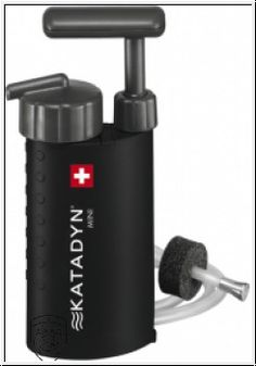 KATADYN mini is a light and compavt water filter, where you can make drinkable water from any river or pont you might get close. Removes bacteria and protozoa from the water with a ceramic filter.