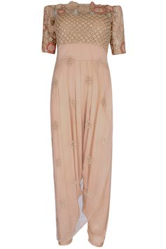 Peach off shoulder jumpsuit with dori thread embroidered sheer overlay available only at Pernia's Pop Up Shop.