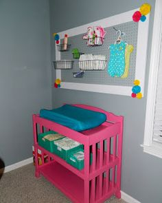Nursery Pegboard Organizer and fun colors.. Love this <3