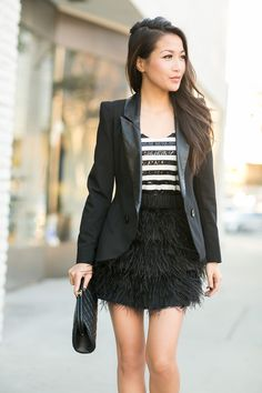 Feather Reflections :: Sequin stripes & Feather skirt Wendy's Lookbook