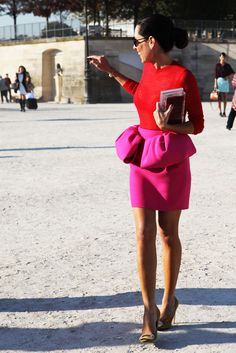 Red and Pink Peplum. Would love to wear this on Valentine's