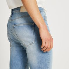 Stretch Denim Fabric, River Island Mens, Short Legs, Skinny Fit Jeans, Suits You, Style Guides, Light Blue, Model, How To Wear