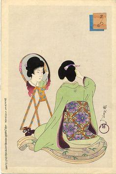 """""""Kesho"""" (Make-up) by Toyohara Chikanobu, Style: Ukiyo-e"""