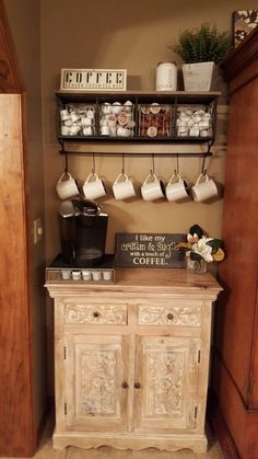 Are you looking for inspiration to design coffee bar? Check out our best collection of DIY coffee bar ideas for your home that will brighten your morning. Coffee Bar Station, Home Coffee Stations, Tea Station, Coffee Bars In Kitchen, Coffee Bar Home, Coffe Bar, Coffee Bar Ideas, Coin Café, Coffee Nook