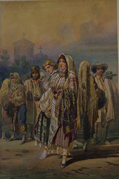 Carol Popp de Szathmáry, Tarani Folk Fashion, Drawing People, Romania, 1 Decembrie, Drawings, Painting, Ethnic, Folklore, Embroidery
