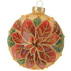 Shelley B Home and Holiday - RAZ Beaded Poinsettia Glass Ball Christmas…
