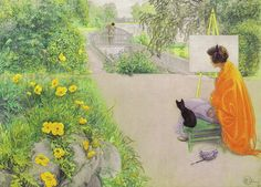 The Bridge at the Harbour by Carl Larsson Swedish Painter & Interior Designer Carl Larsson, Illustrations, Illustration Art, Arts And Crafts Movement, Large Painting, Museum Of Fine Arts, Art World, Cool Cats, Cat Art