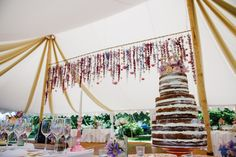 Absolutely stunning decorations at a wedding in our Oyster Pearl tent this summer!