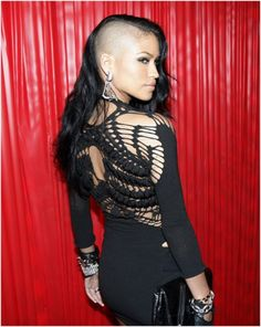 Cassie rocks '80s half-shaved new punk hairdo. Could this be the new trend?