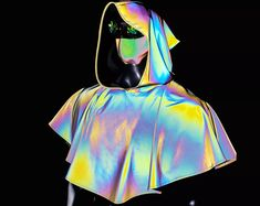 Medieval Hooded Rainbow Refective Capelet/Renaissance Cloak/Medieval Costume/Cosplay/reflective clothing/drag queen costume Drag Queen Costumes, Burning Man Outfits, Medieval Costume, Capelet, Cloak, Holographic, Renaissance, Hoods, Halloween Costumes
