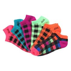 La De Da 6 Pack No Show Socks These socks are comfortable and durable! Featuring a stylish weave and beautiful colors, these socks offer it all. They are made of a sturdy polyester and acrylic blend that will give your socks loads of wear and use. All come finished with a comfy but secure seamed toe and welt cuff.