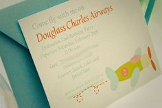 Airplane Party Invitation or Birth Announcement by theenglishpea, $23.50