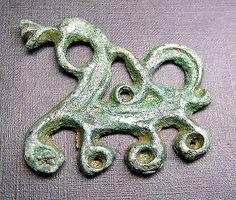 Ancient Viking Bronze ZOOMORPHIC Pendant AMULET Dragon. Rare
