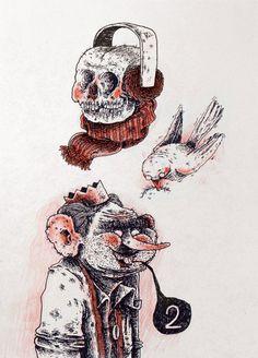 crânio / homem / pássaro - LIVRES #01 by Marcio Moreno, via Behance