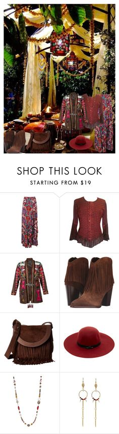 """Bohemian Patio"" by horcal ❤ liked on Polyvore featuring Boohoo, Etro, Sam Edelman, Frye, Maison Scotch, Ruby Rd., Loshy, Chan Luu and vintage"