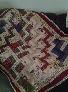 Love the colours in my hand made quilt