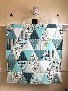 Items similar to Mermaid Baby Quilt Girl Handmade, Triangle Baby Quilt Otters and Mermaids, Ocean Nursery Crib Bedding Turquoise Aqua Baby Blanket on Etsy Baby Girl Quilts, Girls Quilts, Baby Quilt Patterns, Quilting Patterns, Owl Patterns, Tatting Patterns, Quilting Tutorials, Hand Quilting, Quilting Ideas