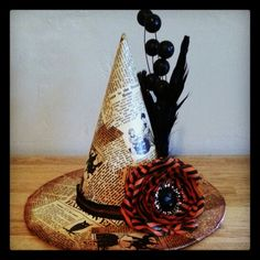 Finished paper mache witches hat centerpiece#upcycling #halloween ideas