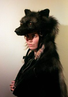 Taxidermy Black Wolf Headdress II by ~NaturePunk on deviantART
