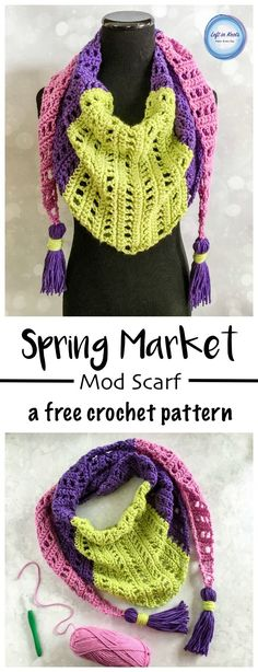 Use this FREE crochet pattern to make a bright and modern spring weight scarf!  Pick your colors and adorn it with optional tassels to personalize this piece just for you!  Enjoy this free pattern from Left in Knots