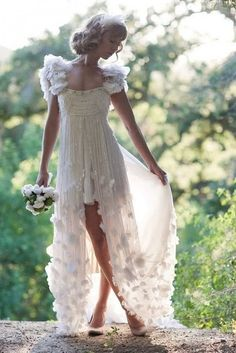 Flowers cap sleeves chiffon forest hi low wedding dress. $269.00, via Etsy.