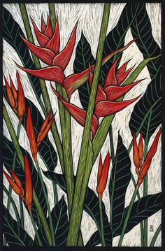 Exotic Flowers 2 - Linocuts.  Rachel Newling.