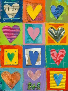 12 primitive hearts love impasto collage mixed media ORIGINAL Art by Elizabeth Rosen