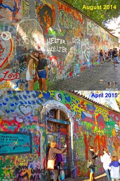 John Lennon Wall in Prague - every once in a while the wall is wiped clean and painting starts all over again. One of 50 things to See in Prague