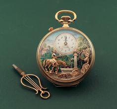 Swiss Automaton Pocket Watch by Reuge-- Reuge,S.A.,Sainte-Croix,Switzerland,circa 1990s.