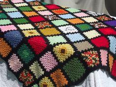 Retro granny squares crochet afghan, black & bright patchwork blanket